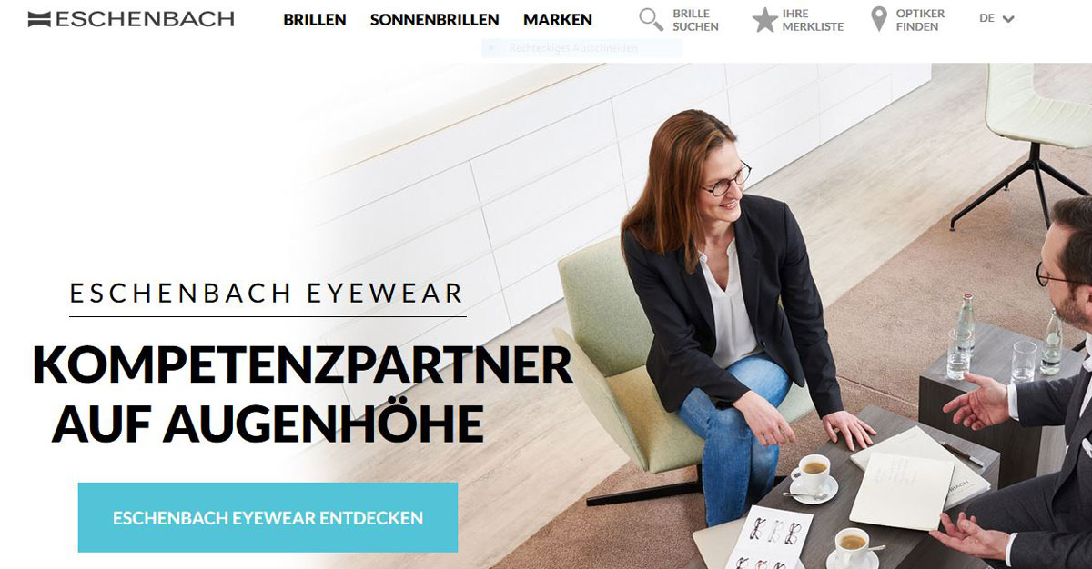 Screenshot der Eschenbach-Website
