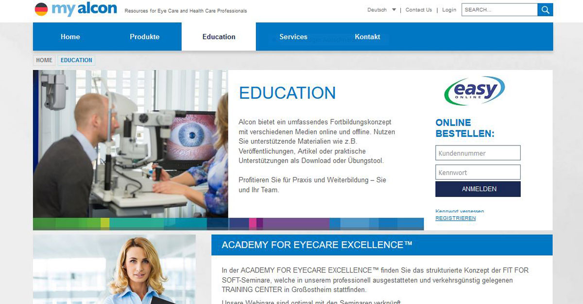 Screenshot der Website der Academy for Eyecare Excellence