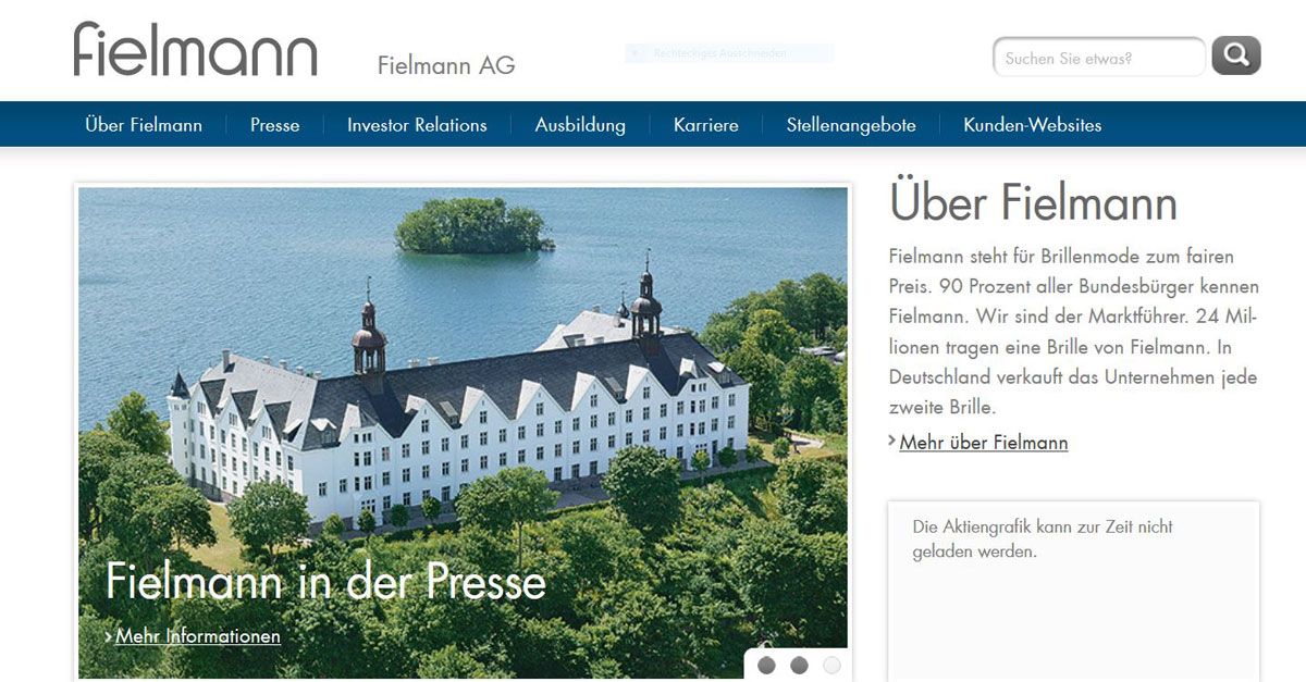 Screenshot Website der Fielmann AG